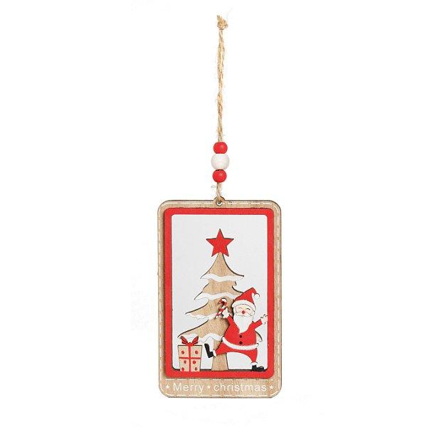 Enfeite para Pendurar Noel e Pinheiro em Madeira 11cm - 01 unidade - Cromus Natal - Rizzo Embalagens