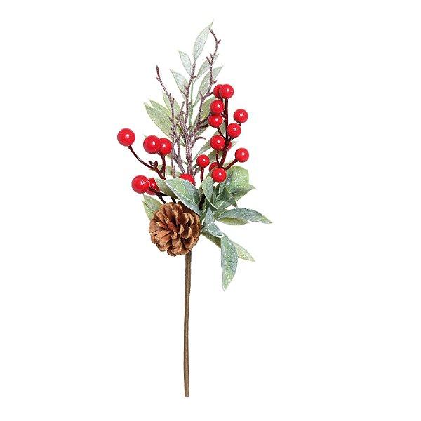 Galho Folhas e Frutas Vermelho Natal - 01 unidade - Cromus Natal - Rizzo Embalagens