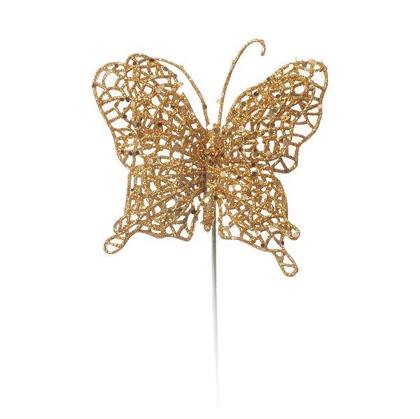 Pick Borboleta Glitter Ouro Natal 24cm - 01 unidade - Cromus Natal - Rizzo Embalagens