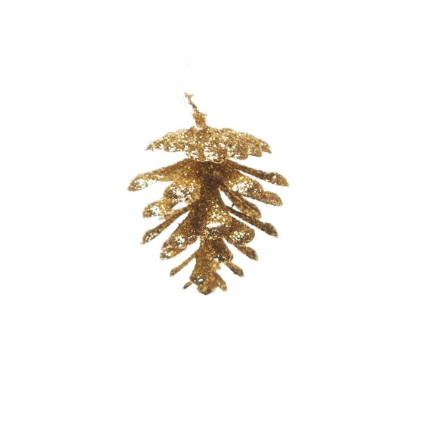 Pinha Glitter Ouro 4cm - 01 unidades - Cromus Natal - Rizzo Embalagens