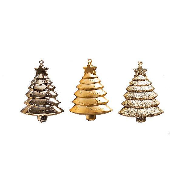 Enfeite para Pendurar Pinheiros Ouro 10cm - 01 unidade - Cromus Natal - Rizzo Embalagens