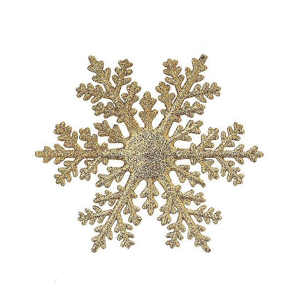 Enfeite para Pendurar Floco de Neve Ouro 15cm - 06 unidades - Cromus Natal - Rizzo Embalagens
