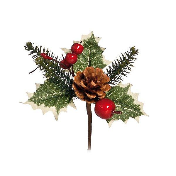 Pick Cerejas com Pinha 10cm - 01 unidade - Cromus Natal - Rizzo Embalagens