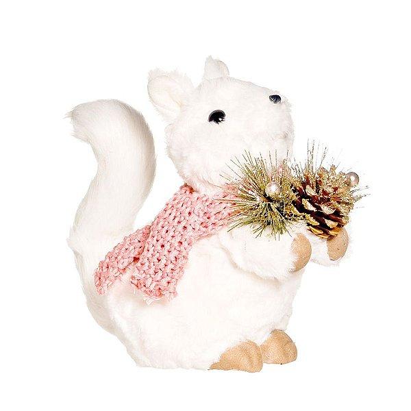 Esquilo de Pelúcia Soft com Cachecol Rosa 25cm - 01 unidade - La Perle - Cromus Natal - Rizzo Embalagens