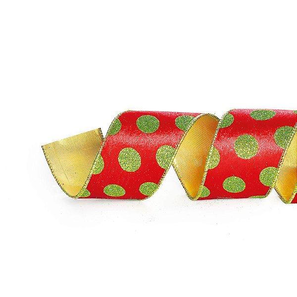Fita Vermelho Bolas Verdes 6,3cm x 9,14m - 01 unidade - Cromus Natal - Rizzo Embalagens