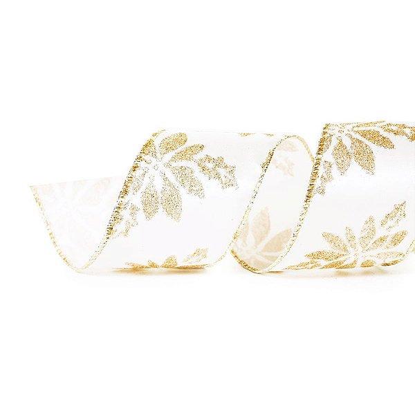 Fita Aramada Flores Nude 6,3cm x 9,14m - 01 unidade - Cromus Natal - Rizzo Embalagens