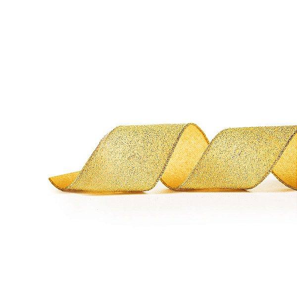 Fita Aramada Ouro Glitter 10cm x 9,14m - 01 unidade - Cromus Natal - Rizzo Embalagens