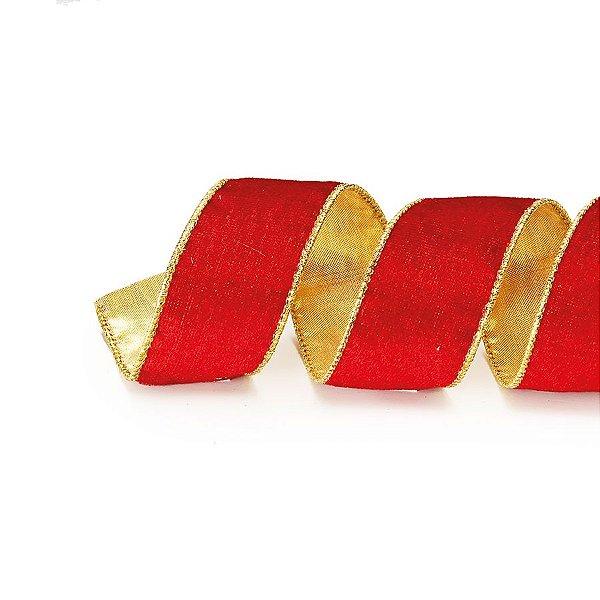 Fita Aramada Vermelho e Ouro 10cm x 9,14m - 01 unidade - Cromus Natal - Rizzo Embalagens