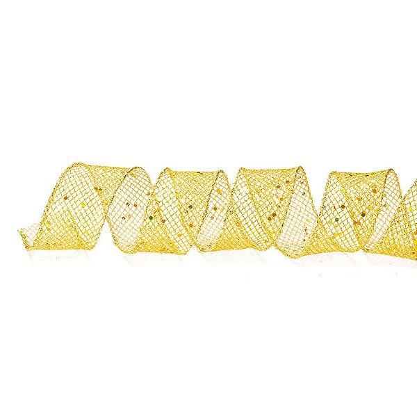 Fita Aramada Telada Ouro com Brilhos 6,3cm x 9,14m - 01 unidade - Cromus Natal - Rizzo Embalagens