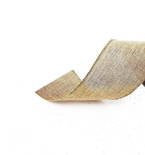 Fita Aramada Juta com Fios Ouro 6,3cm x 9,14m - 01 unidade - Cromus Natal - Rizzo Embalagens