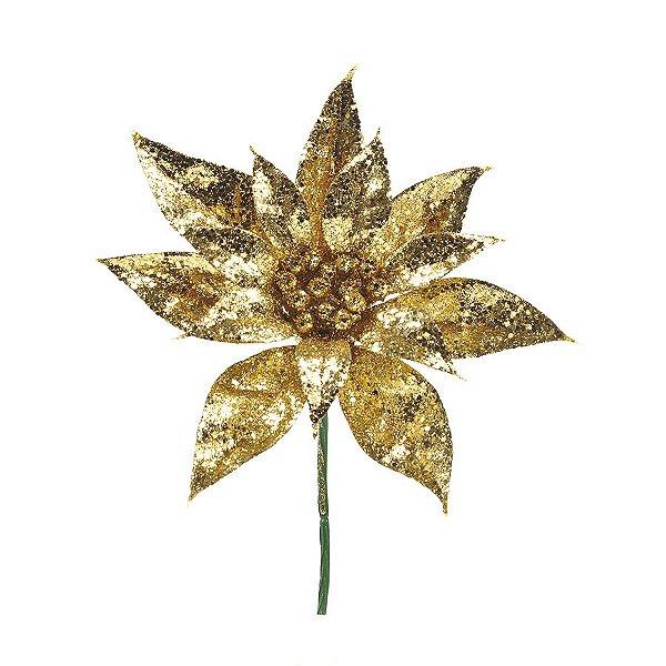 Flor Cabo Curto Dourado com Glitter 25cm - 01 unidade - Cromus Natal - Rizzo Embalagens