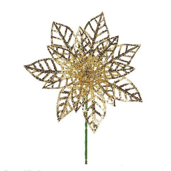 Flor Cabo Curto Vazada Dourado com Glitter 20cm - 01 unidade - Cromus Natal - Rizzo Embalagens
