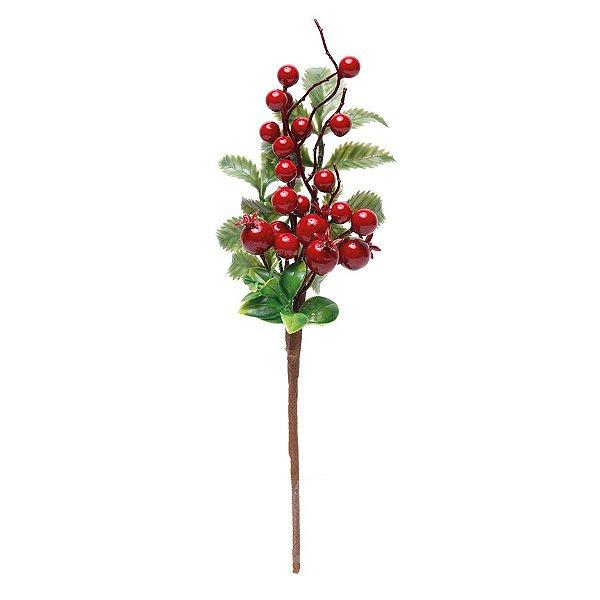 Galho Curto Folhas e Frutas Vermelhas 30cm - 01 unidade - Cromus Natal - Rizzo Embalagens