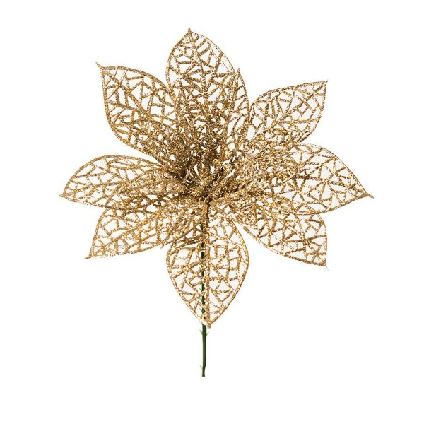 Flor Cabo Curto Poinsettia com Glitter Nude 15cm - 01 unidade - Cromus Natal - Rizzo Embalagens