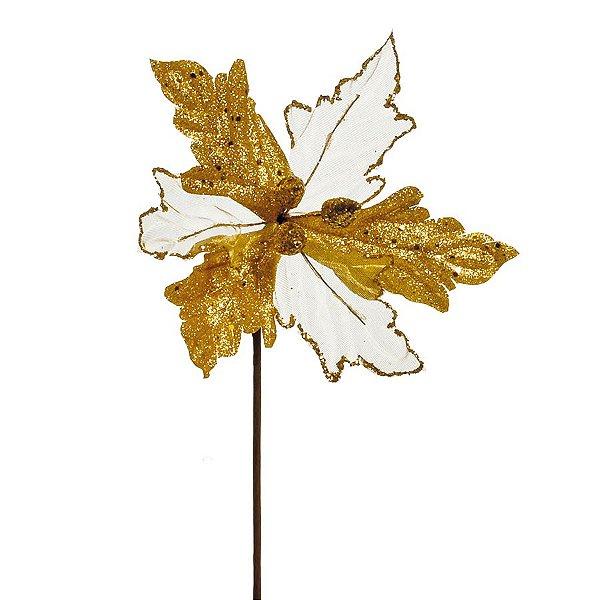 Flor Cabo Curto Branco e Ouro com Glitter 20cm - 01 unidade - Cromus Natal - Rizzo Embalagens
