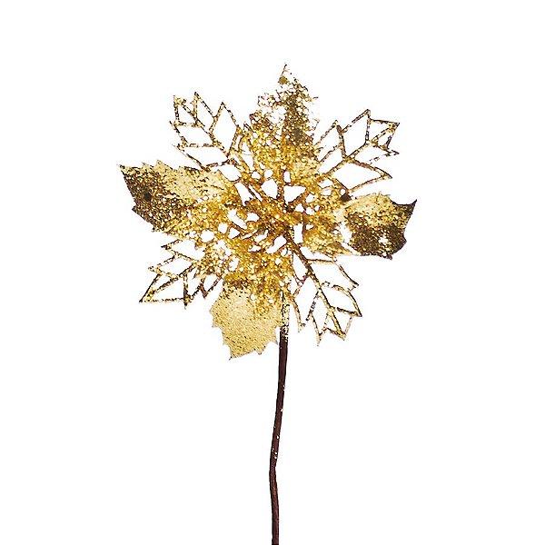 Flor Pétalas Vazadas Glitter Ouro 20cm - 01 unidade - Cristal Collection - Cromus Natal - Rizzo Embalagens