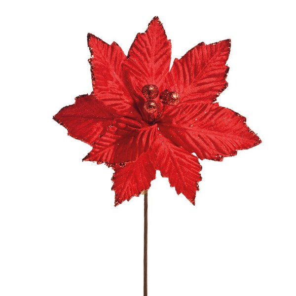 Flor Cabo Curto Poinsettia Vermelha 25cm - 01 unidade - Cromus Natal - Rizzo Embalagens