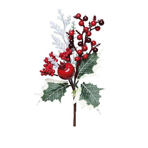 Galho Curto Folhas Frutas e Romã Vermelho 20cm - 01 unidade - Cromus Natal - Rizzo Embalagens