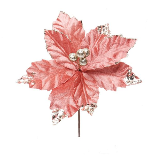Flor Cabo Curto Veludo Rosa e Glitter 20cm - 01 unidade - Cromus Natal - Rizzo Embalagens