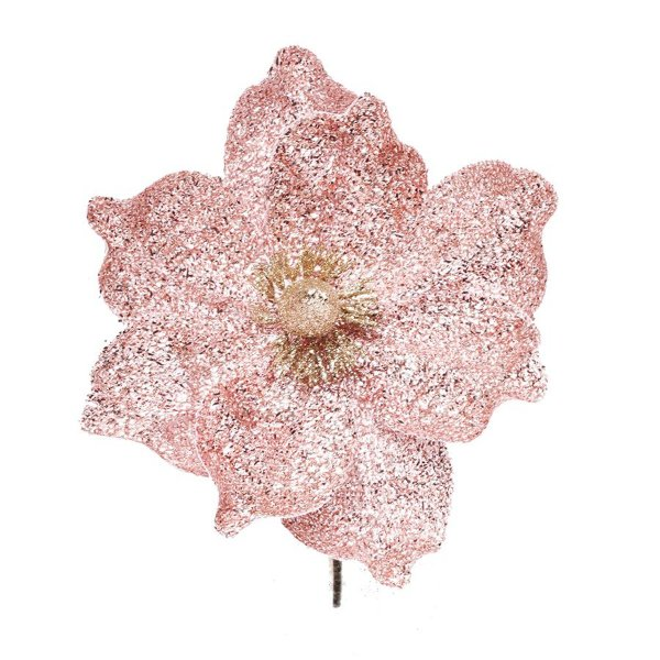 Flor Cabo Curto Poinsettia Rosa Glitter 25cm - 01 unidade - Cromus Natal - Rizzo Embalagens