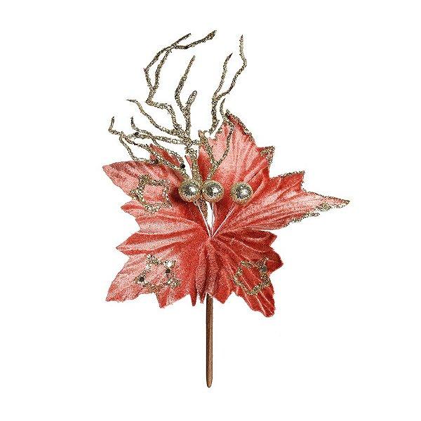 Flor Cabo Curto Poinsettia Rose e Glitter Nude 20cm - 01 unidade - Cromus Natal - Rizzo Embalagens