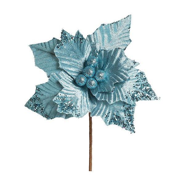 Flor Cabo Curto Poinsettia Azul 20cm - 01 unidade - Cromus Natal - Rizzo Embalagens
