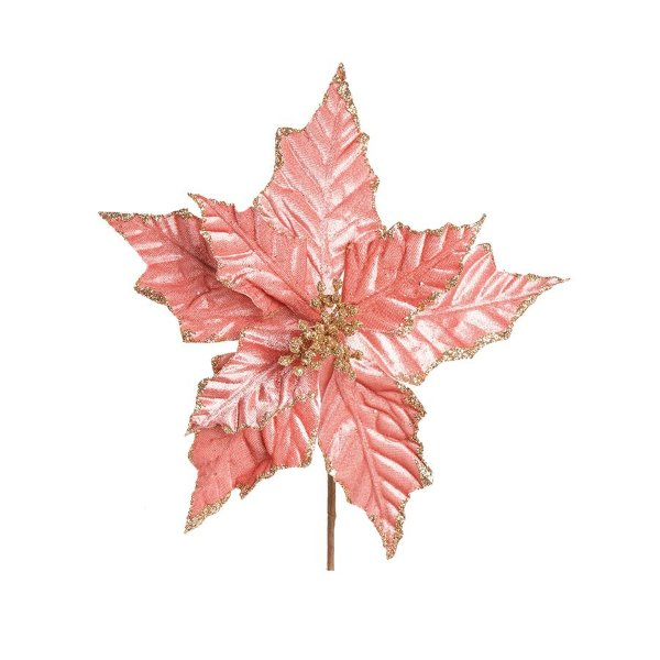 Flor Cabo Curto Poinsettia Rose Veludo com Glitter Ouro 30cm - 01 unidade - Cromus Natal - Rizzo Embalagens