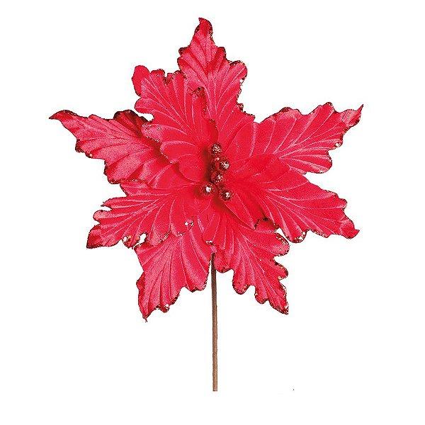 Flor Cabo Médio Poinsettia Vermelho 35cm - 01 unidade - Cromus Natal - Rizzo Embalagens