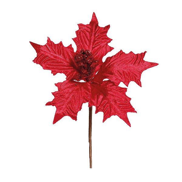 Flor Cabo Curto Poinsettia Vermelho Veludo Miolo Glitter 20cm - 01 unidade - Cromus Natal - Rizzo Embalagens