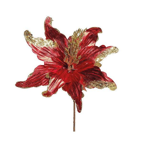 Flor Cabo Curto Poinsettia Vermelho Brilhante com Glitter Ouro 30cm - 01 unidade - Cromus Natal - Rizzo Embalagens