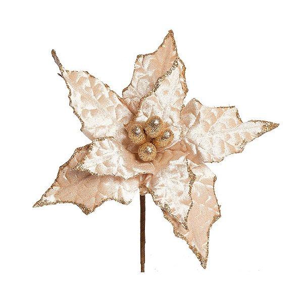 Flor Cabo Curto Poinsettia Nude Brilhante com Glitter 25cm - 01 unidade - Cromus Natal - Rizzo Embalagens