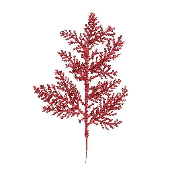 Galho Curto Folhas Glitter Vermelho 25cm - 01 unidade - Cromus Natal - Rizzo Embalagens