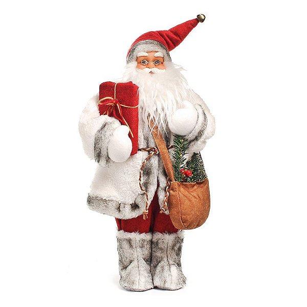 Papai Noel em Pé Vermelho com Bota de Pelúcia 50cm - 01 unidade - Cromus Natal - Rizzo Embalagens