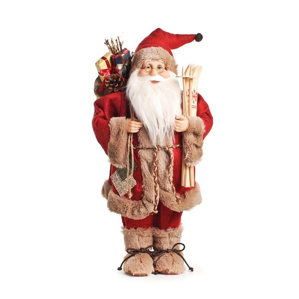 Papai Noel em Pé com Casaco Vermelho e Bege 50cm - 01 unidade - Cromus Natal - Rizzo Embalagens