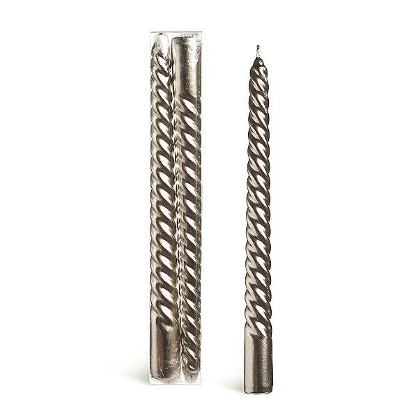 Kit Velas Espiral Nude 25cm - 02 unidades - Cromus Natal - Rizzo Embalagens