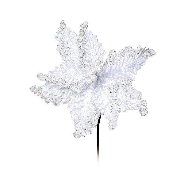 Flor Cabo Médio Poinsettia Branco com Brilho 40cm - 01 unidade - Cromus Natal - Rizzo Embalagens