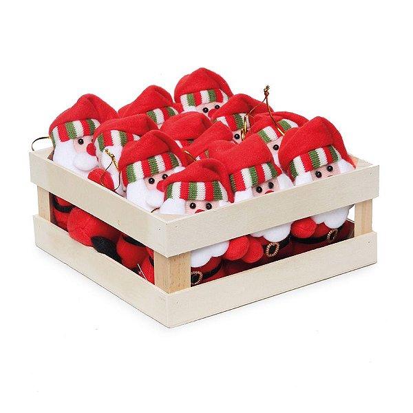 Mini Box Mini Noéis para Pendurar com Touca - 12 unidades - Cromus Natal - Rizzo Embalagens