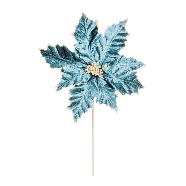 Flor Cabo Médio Poinsettia Azul com Glitter Ouro 45cm - 01 unidade - Cromus Natal - Rizzo Embalagens