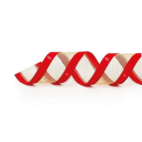 Fita Aramada Telada Vermelho e Ouro 6,3cm x 9,14m - 01 unidade - Cromus Natal - Rizzo Embalagens