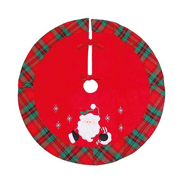 Saia para Árvore Xadrez Noel Vermelho e Verde 120cm - 01 unidade - Cromus Natal - Rizzo Embalagens