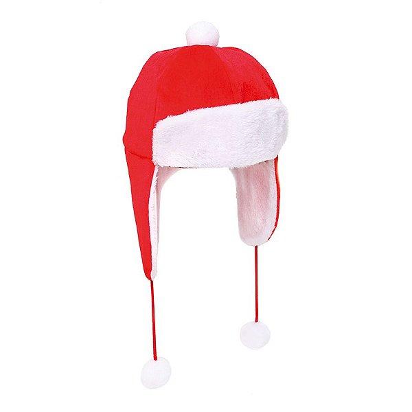Touca Natalina com PomPom Vermelho e Branco - 01 unidade - Cromus Natal - Rizzo Embalagens