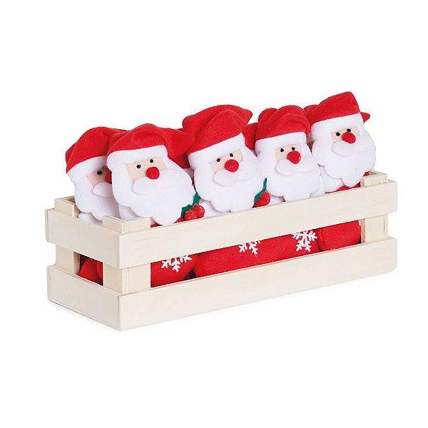 Mini Box Mini Noéis na Meia com Floco de Neve - 12 unidades - Cromus Natal - Rizzo Embalagens