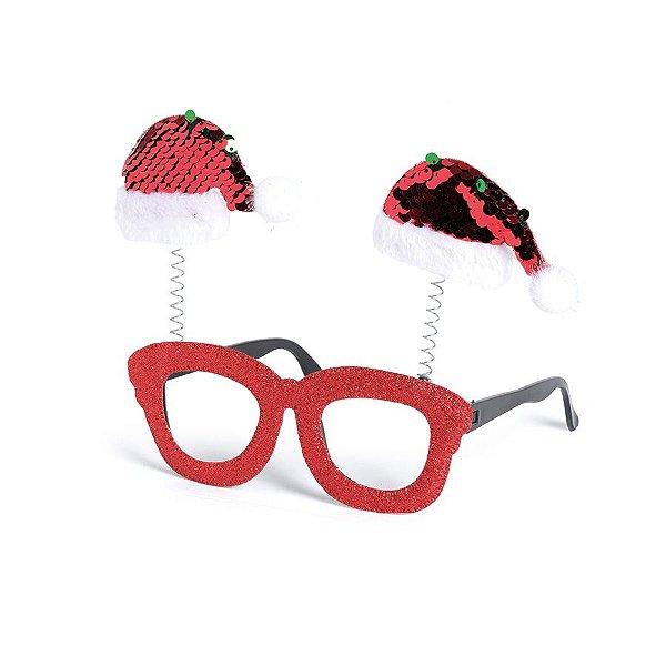 Óculos com Gorro Noel Vermelho Lantejoula - 01 unidade - Cromus Natal - Rizzo Embalagens