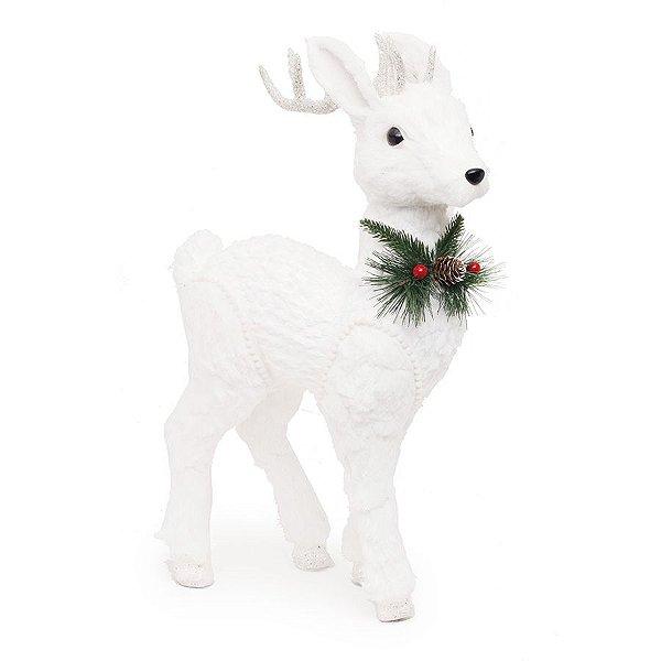 Rena Branca em Pé com Enfeite no Pescoço 61cm - 01 unidade - Bariloche - Cromus Natal - Rizzo Embalagens