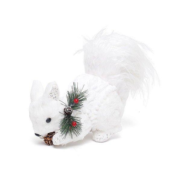 Esquilo com Nozes e Enfeite no Pescoço 17cm - 01 unidade - Bariloche - Cromus Natal - Rizzo Embalagens