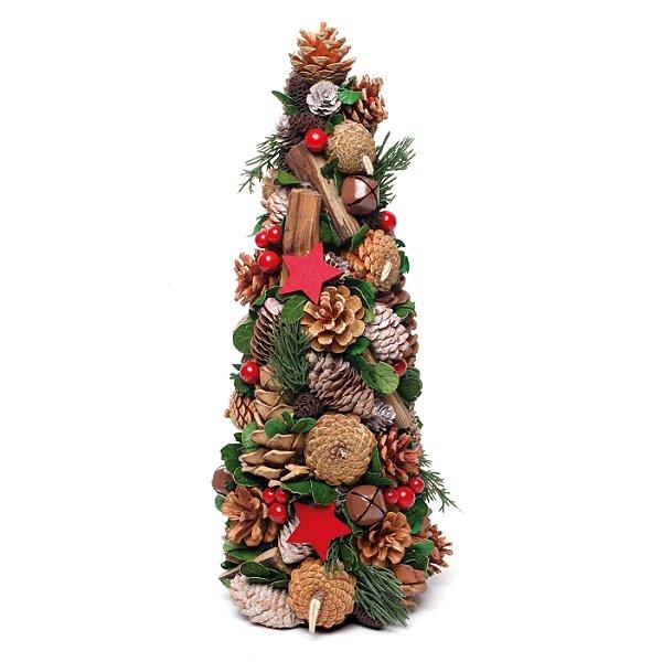 Cone Pinha e Estrela Verde 44cm - 01 unidade - Cromus Natal - Rizzo Embalagens