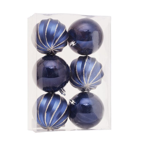 Kit Bolas Gomos Lisa Azul Marinho 8cm - 06 unidades - Cromus Natal - Rizzo Embalagens