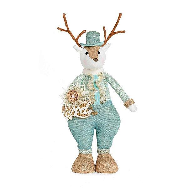 Rena em Pé Azul e Ouro 42cm - 01 unidade - Neo Mint - Cromus Natal - Rizzo Embalagens