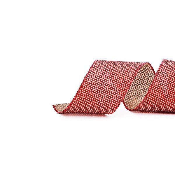 Fita Aramada Quadriculada com Glitter Cru e Vermelho 3,8cm x 9,14m - 01 unidade - Cromus Natal - Rizzo Embalagens