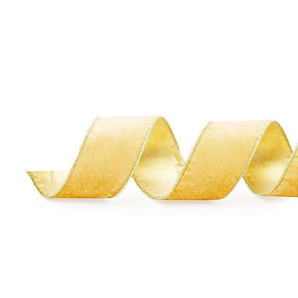 Fita Aramada Veludo Lisa Ouro 6,3cm x 9,14m - 01 unidade - Cromus Natal - Rizzo Embalagens